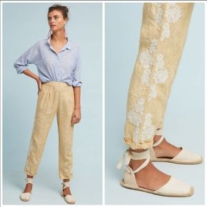Anthropologie M Linen Embroidered High Rise Pants